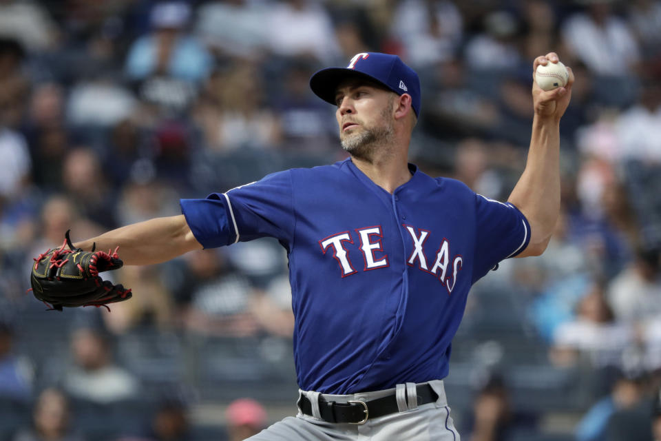Texas Rangers pitcher Mike Minor delivers during the first inning of a baseball game against the New York Yankees, Monday, Sept. 2, 2019, in New York. (AP Photo/Adam Hunger)