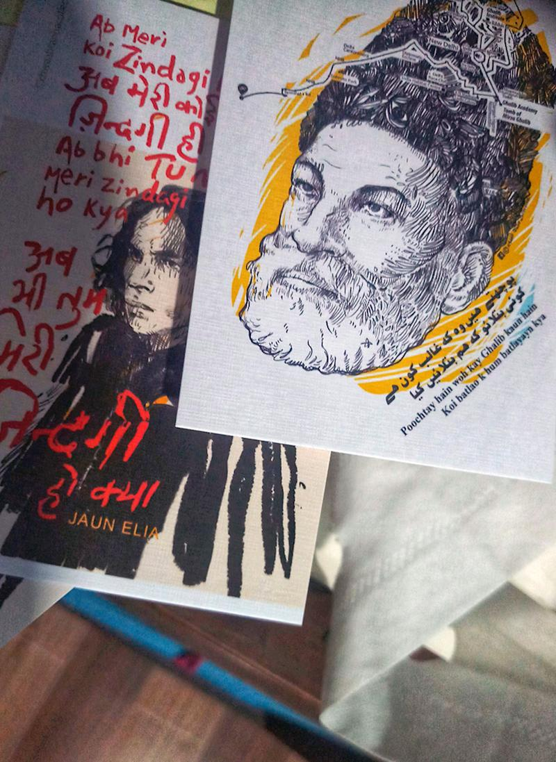 He runs an initiative called 'Khwaab Tanha Collective' which recreates portraits of veteran Urdu poets and writers for contemporary consumers using pop art and iconography.  Posters of John Elia and Mirza Ghalib   (Image: News18/ Rakhi Bose)