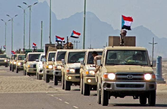 A convoy of Yemen's Security Belt Force, dominated by members of the the Southern Transitional Council, on patrol between Aden and Abyan province late last year (AFP Photo/Saleh Al-OBEIDI)