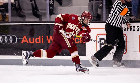 """PROVIDENCE, RI – DECEMBER 30: Will Butcher #4 of the <a class=""""link rapid-noclick-resp"""" href=""""/ncaab/teams/dak/"""" data-ylk=""""slk:Denver Pioneers"""">Denver Pioneers</a> skates against the Providence College Friars during NCAA hockey at the Schneider Arena on December 30, 2016 in Providence, Rhode Island. The game ended in a 2-2 tie. (Photo by Richard T Gagnon/Getty Images)"""