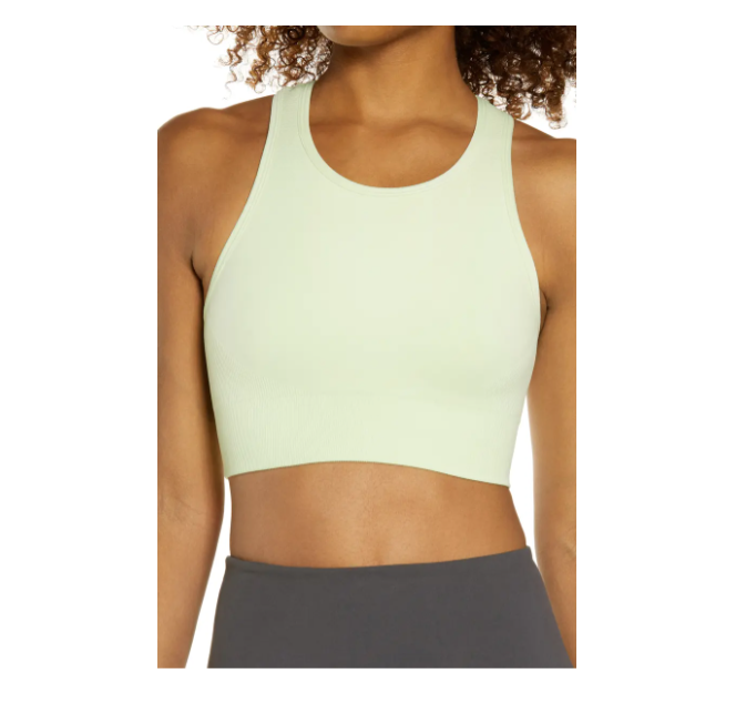 """<p><strong>Zella Body</strong></p><p>nordstrom.com</p><p><strong>$35.00</strong></p><p><a href=""""https://go.redirectingat.com?id=74968X1596630&url=https%3A%2F%2Fshop.nordstrom.com%2Fs%2Fzella-body-fusion-sports-bra%2F4562382%2Flite&sref=https%3A%2F%2Fwww.prevention.com%2Ffitness%2Fworkout-clothes-gear%2Fg22117349%2Fbest-sports-bras-for-large-breasts%2F"""" rel=""""nofollow noopener"""" target=""""_blank"""" data-ylk=""""slk:Shop Now"""" class=""""link rapid-noclick-resp"""">Shop Now</a></p><p><strong>Sizes: </strong>Small to Medium</p><p>Complete with a compression fit and a high neck, this bounce-controlling sports bra is great for women with large busts. <strong>The cutout halter back was designed with performance in mind, keeping you cool and your girls in place</strong>. A Nordstrom reviewer wrote, """"I'm a 34D and the medium worked well. I can actually get away with doing a high-impact workout and only wear one sports bra. I used to layer two or three. This will be my new go-to!""""</p>"""