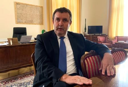 Hungarian Innovation and Technology Minister Laszlo Palkovics sits for an interview in his office in Budapest