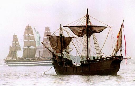 A replica of Christopher Columbus's flagship, the Santa Maria, which first took him to the Americas in 1492