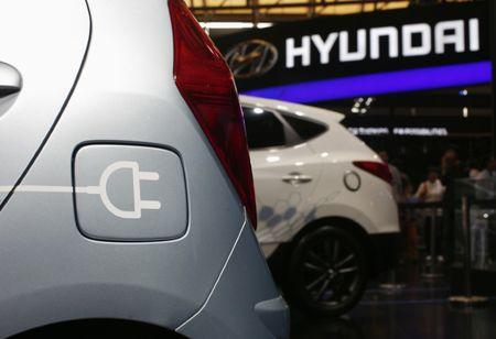 FILE PHOTO: A Hyundai electric car is seen during the 15th Shanghai International Automobile Industry Exhibition in Shanghai
