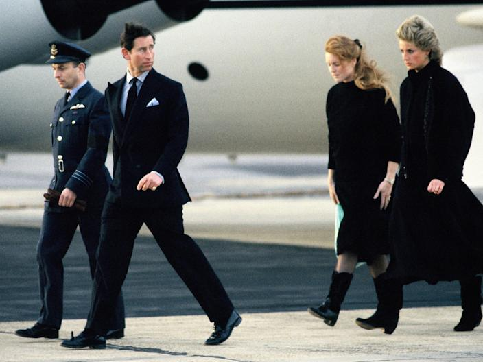 Prince Charles, Princess Diana - Major Hugh Lindsay Funeral - March 12, 1988