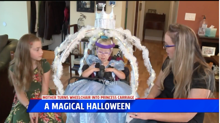 "Tiffany Breen decide to transform Rosalyn's wheelchair into a Cinderella carriage so her daughter could ""draw attention in a positive way"". Photo: Fox 17 News"