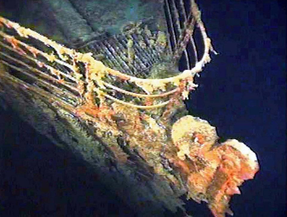 The port bow railing of the Titanic lies in 12,600 feet of water about 400 miles east of Nova Scotia as photographed earlier this month as part of a joint scientific and recovery expedition sponsored by the Discovery Channel and RMS Titantic. Scientists plan to illuminate and then raise the hull section of this legendary ocean liner later this month. - PBEAHUMWLEW