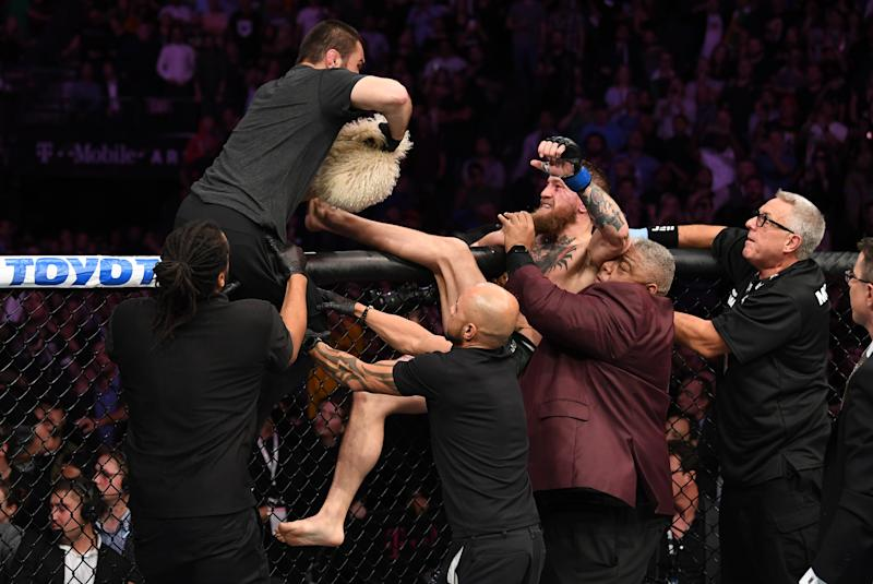 The chaotic aftermath of Conor McGregor's defeat to Khabib Nurmagomedov last October. (Photo by Josh Hedges/Zuffa LLC/Zuffa LLC via Getty Images)