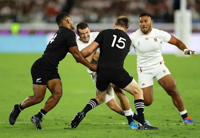 Jonny May and Manu Tuilagi take on the All BLacks