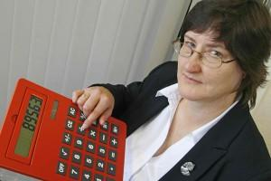 Woman with gigantic red calculator