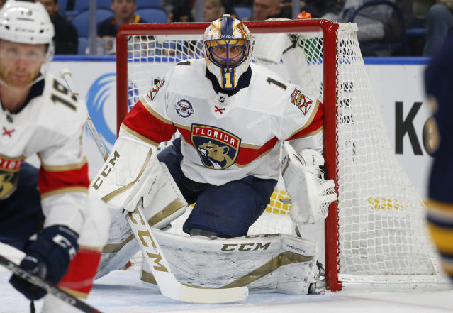 Florida Panthers goalie Roberto Luongo (1) looks on during the first period of an NHL hockey game against the Buffalo Sabres, Tuesday, Dec. 18, 2018, in Buffalo N.Y. (AP Photo/Jeffrey T. Barnes)