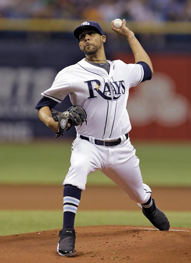 Tampa Bay Rays starting pitcher David Price delivers to the Boston Red Sox during the first inning of a baseball game on Friday, July 25, 2014, in St. Petersburg, Fla. (AP Photo/Chris O'Meara)