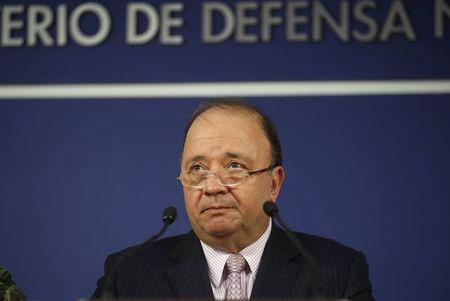 Colombia's Defense Minister Villegas delivers a speech during a news conference in Bogota, Colombia
