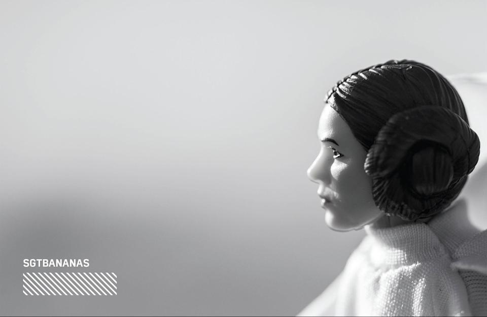 """<p>""""For this photo I wanted to capture Leia staring off into the great beyond. I felt that making the photo black and white tapped right into the tragic loss that we all just went through."""" (Photo: <a href=""""https://www.instagram.com/sgtbananas/"""" rel=""""nofollow noopener"""" target=""""_blank"""" data-ylk=""""slk:@sgtbananas"""" class=""""link rapid-noclick-resp"""">@sgtbananas</a>/Hasbro) </p>"""