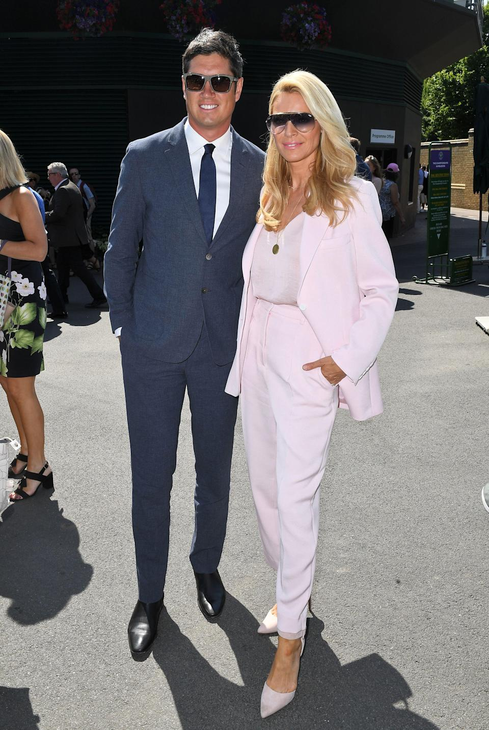 <p>Vernon Kay and Tess Daly joined the A-list crowd for day two of Wimbledon 2018. Daly opted for a powder pink two-piece suit while her husband looked dapper in navy hues. <em>[Photo: Rex] </em> </p>