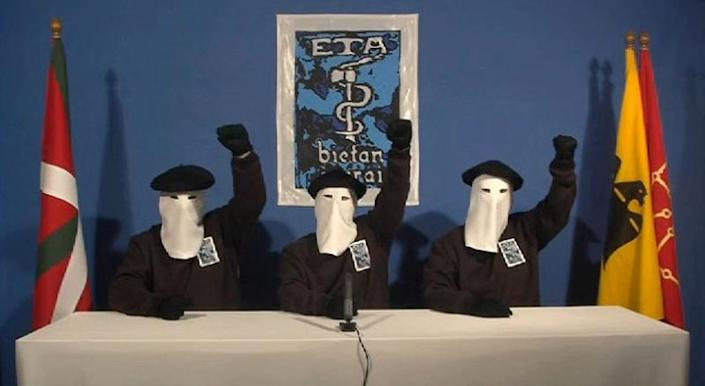 ETA separatists address the press in 2011 when the Basque separatist group announced a permanent end to its campaign of violence which cost more than 800 lives (AFP Photo/HO)