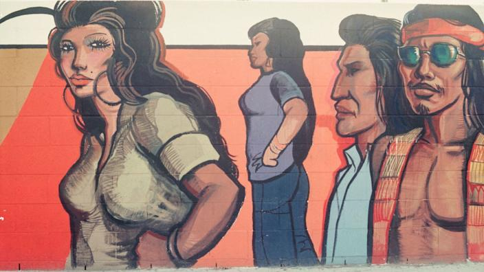 """This 1970s mural, by Sergio O'Cadiz Moctezuma, was part of the 2017 """"Pacific Standard Time: LA/LA"""" exhibition, """"¡Murales Rebeldes! L.A. Chicana/o Murals Under Siege,"""" cocurated by LA Plaza de Cultura y Artes and the California Historical Society. <span class=""""copyright"""">(LA Plaza de Cultura y Artes)</span>"""