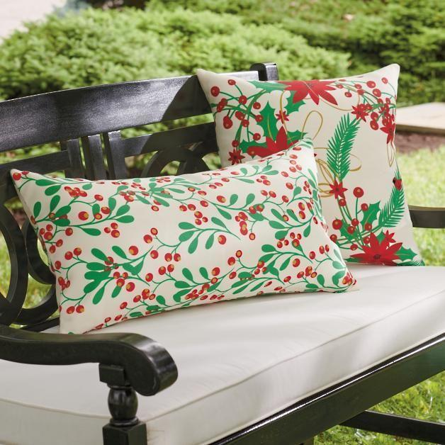"<p><strong>Grandin Road</strong></p><p>grandinroad.com</p><p><strong>$69.50</strong></p><p><a href=""https://www.grandinroad.com/joyful-poinsettia-26-holly-berry-pillows/1409362?listIndex=7&uniqueId=1409362"" rel=""nofollow noopener"" target=""_blank"" data-ylk=""slk:Shop Now"" class=""link rapid-noclick-resp"">Shop Now</a></p><p>Throw a couple of outdoor Christmas-themed pillows on your bench for instant holiday atmosphere.</p>"