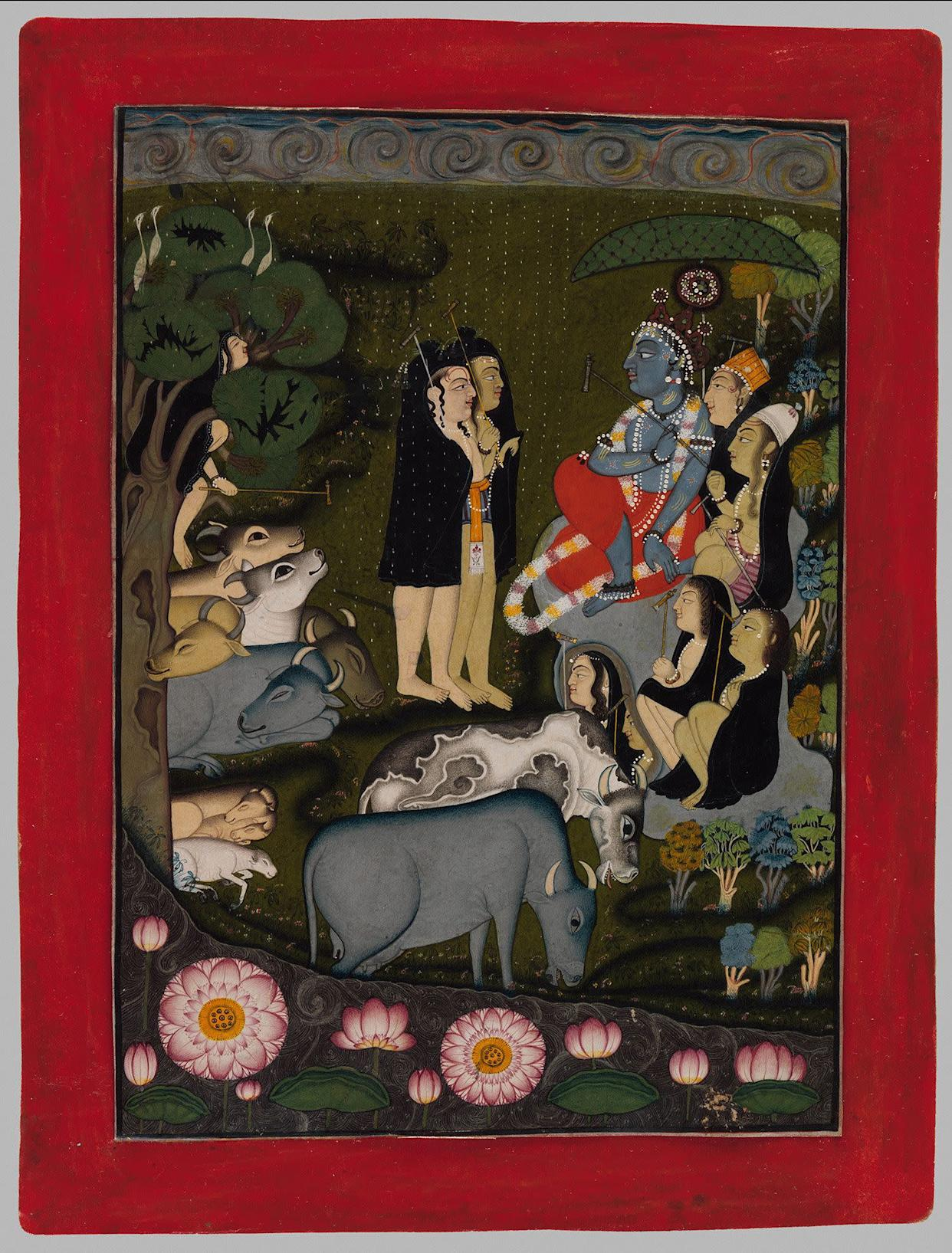 """""""Krishna and the Gopas (Cowherders) Huddle in theRain.""""Attributed to the artist known as the Master of theSwirling Skies (active second quarter of 18th century)Punjab Hills, kingdom of Jammu, ca. 1725–50.Opaque watercolor and silver (now tarnished) onpaper; modern border; painting 8 3/8 x 5 7/8 in.Promised Gift of the Kronos Collections, 2015"""