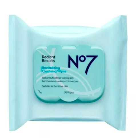 """<p>Waterproof makeup is no match for these <a href=""""https://www.popsugar.com/buy/No7-Radiant-Results-Revitalising-Cleansing-Wipes-293409?p_name=No7%20Radiant%20Results%20Revitalising%20Cleansing%20Wipes&retailer=target.com&pid=293409&price=7&evar1=bella%3Auk&evar9=30490550&evar98=https%3A%2F%2Fwww.popsugar.com%2Fbeauty%2Fphoto-gallery%2F30490550%2Fimage%2F35369132%2FMakeup-Wipes-No7-Radiant-Results-Revitalising-Cleansing-Wipes&list1=hair%2Cmakeup%2Cbeauty%20products%2Cbody%20care%2Cbeauty%20shopping%2Cbeauty%20review%2Cdrugstore%20beauty%2Cskin%20care&prop13=api&pdata=1"""" class=""""link rapid-noclick-resp"""" rel=""""nofollow noopener"""" target=""""_blank"""" data-ylk=""""slk:No7 Radiant Results Revitalising Cleansing Wipes"""">No7 Radiant Results Revitalising Cleansing Wipes</a> ($7), which also help clarify pores and tone skin.</p>"""