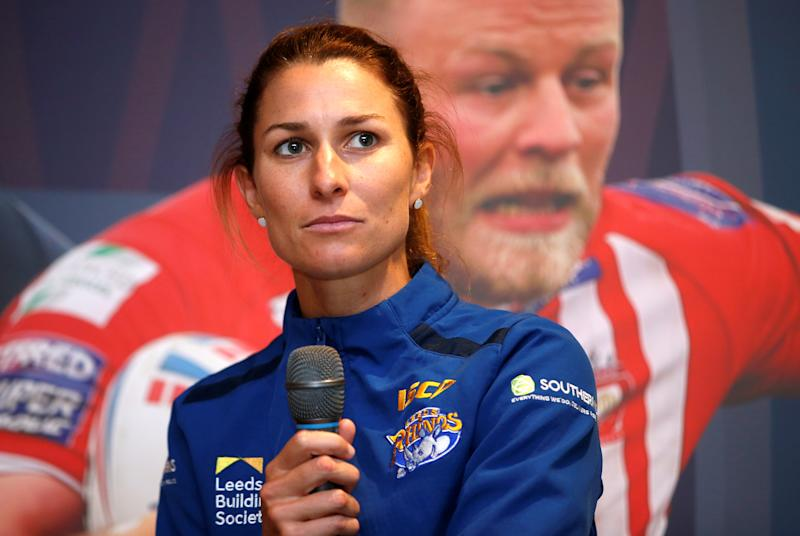 Leeds Rhinos' Courtney Hill during the press conference Action Images/Ed Sykes