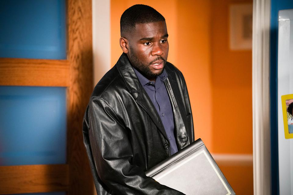 WARNING: Embargoed for publication until 00:00:01 on 15/06/2021 - Programme Name: EastEnders - April-June 2021 - TX: 24/06/2021 - Episode: EastEnders - April-June 2021- 6295 (No. 6295) - Picture Shows: ***EMBARGOED TILL TUESDAY 15TH JUNE 2021**** Isaac (STEVIE BASAULA) - (C) BBC - Photographer: Kieron McCarron/Jack Barnes