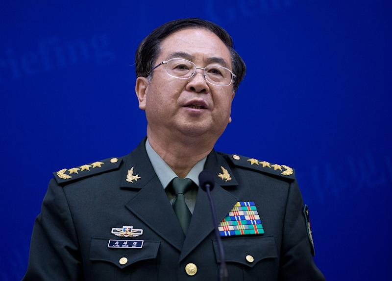 China's Chief of the General Staff Gen. Fang Fenghui speaks during a press briefing with U.S. Joint Chiefs Chairman Gen. Martin Dempsey at the Bayi Building in Beijing, China Monday, April 22, 2013. (AP Photo/Andy Wong, Pool)