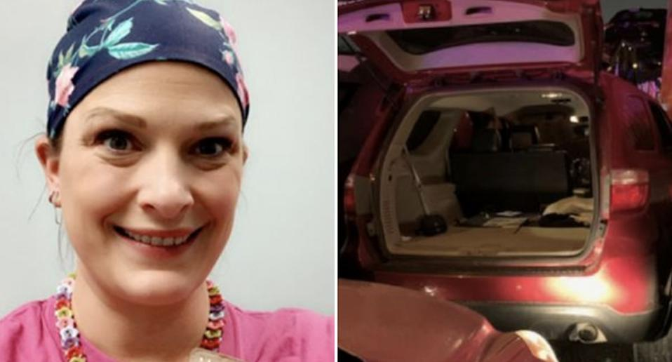 Rebecca Benson is pictured alongside her car which she crawled out of following a crash in Texas.