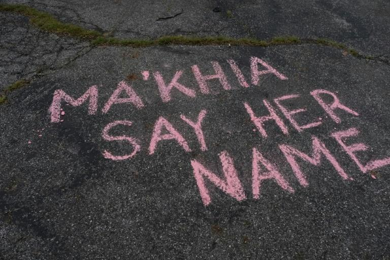 A message written on the street in Columbus Ohio in memory of Ma'Khia Bryant, who was fatally shot by a white police officer