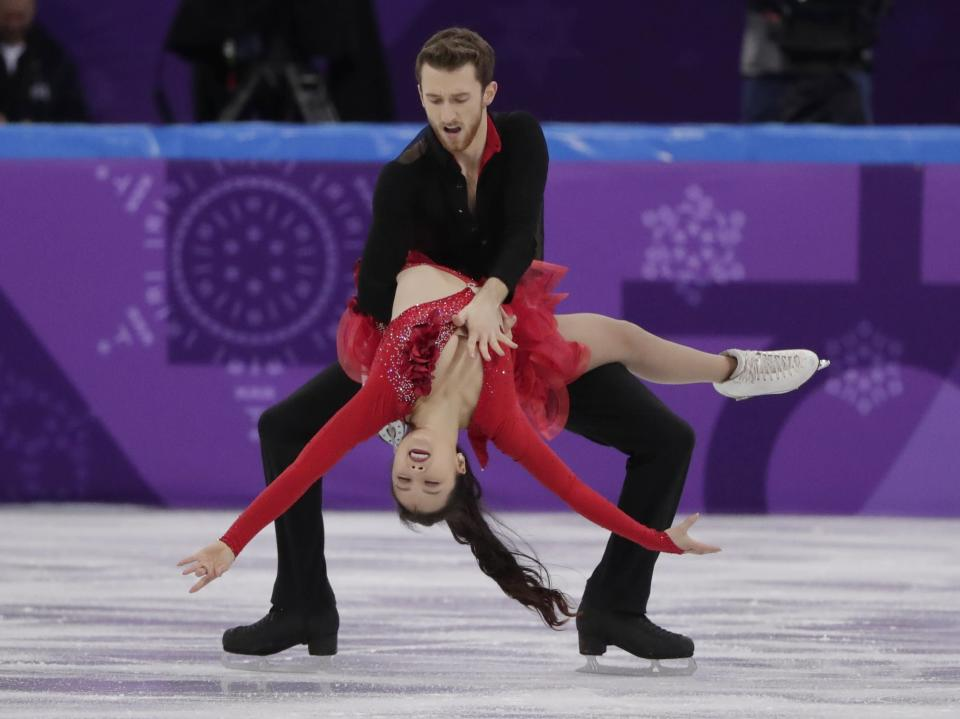 Yura Min experienced a wardrobe malfunction during her routine on Sunday. (AP Photo/Julie Jacobson)