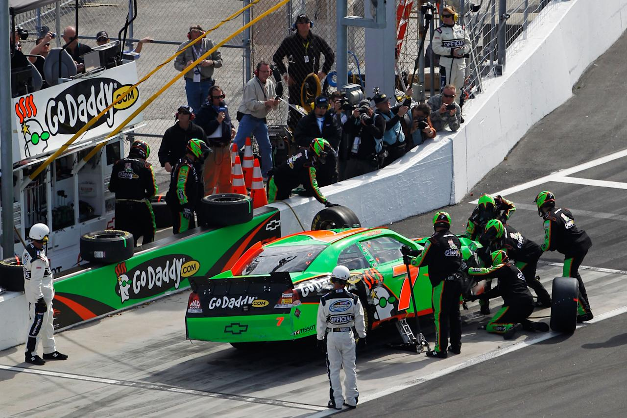 DAYTONA BEACH, FL - FEBRUARY 25:  Danica Patrick, driver of the #7 GoDaddy.com Chevrolet, pits after being involved in an on track incident during the NASCAR Nationwide Series DRIVE4COPD 300 at Daytona International Speedway on February 25, 2012 in Daytona Beach, Florida.  (Photo by Tom Pennington/Getty Images for NASCAR)