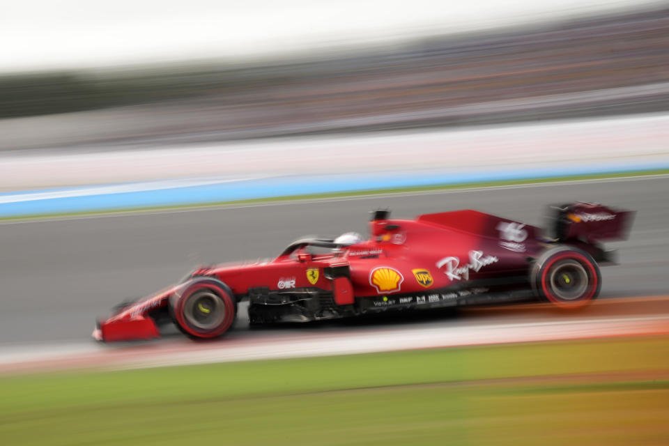 Ferrari driver Charles Leclerc of Monaco steers his car during qualifying for Sunday's Formula One Turkish Grand Prix at the Intercity Istanbul Park circuit in Istanbul, Turkey, Saturday, Oct. 9, 2021. (AP Photo/Francisco Seco)