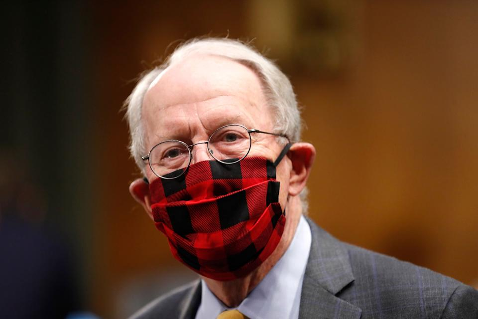 Sen. Lamar Alexander, R-Tenn., wears a plaid face mask before a Senate Health, Education, Labor and Pensions Committee hearing on new coronavirus tests on May 7, 2020. (Photo: ASSOCIATED PRESS)