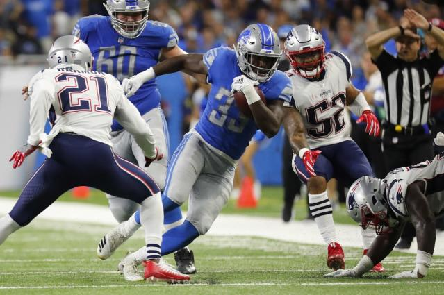 Detroit Lions running back Kerryon Johnson has come on strong of late. Expect more powerful gains this week against Green Bay. (AP Photo/Rick Osentoski)