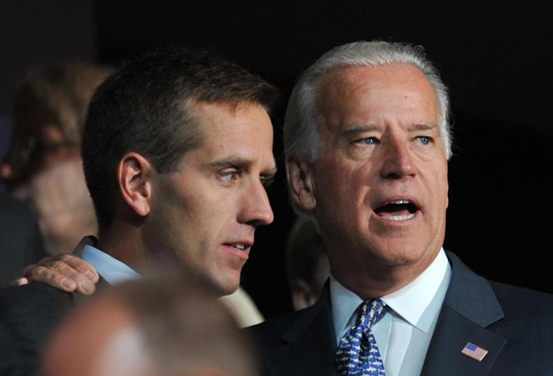 Joe Biden with his son, Beau Biden, at the Democratic National Convention in 2008. (PAUL J. RICHARDS via Getty Images)
