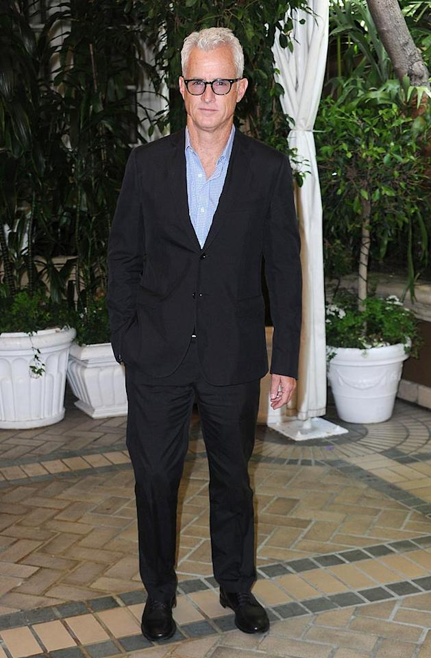 """Mad Men's"" John Slattery went sans tie and topped off his formal ensemble with funky specs -- a look it's safe to say we'll never see on his character Roger Sterling. Frazer Harrison/<a href=""http://www.gettyimages.com/"" target=""new"">GettyImages.com</a> - July 28, 2010"