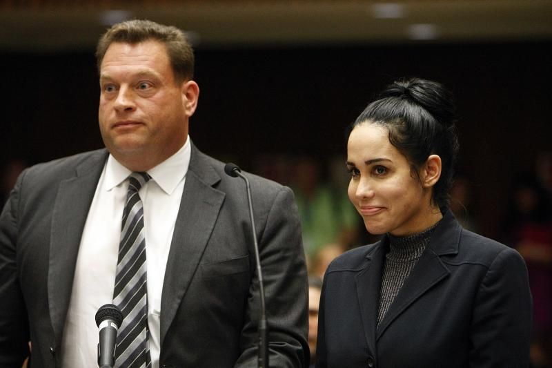 Nadya Suleman appears with her attorney Arthur J. La Cilento (L) for arraignment in Los Angeles