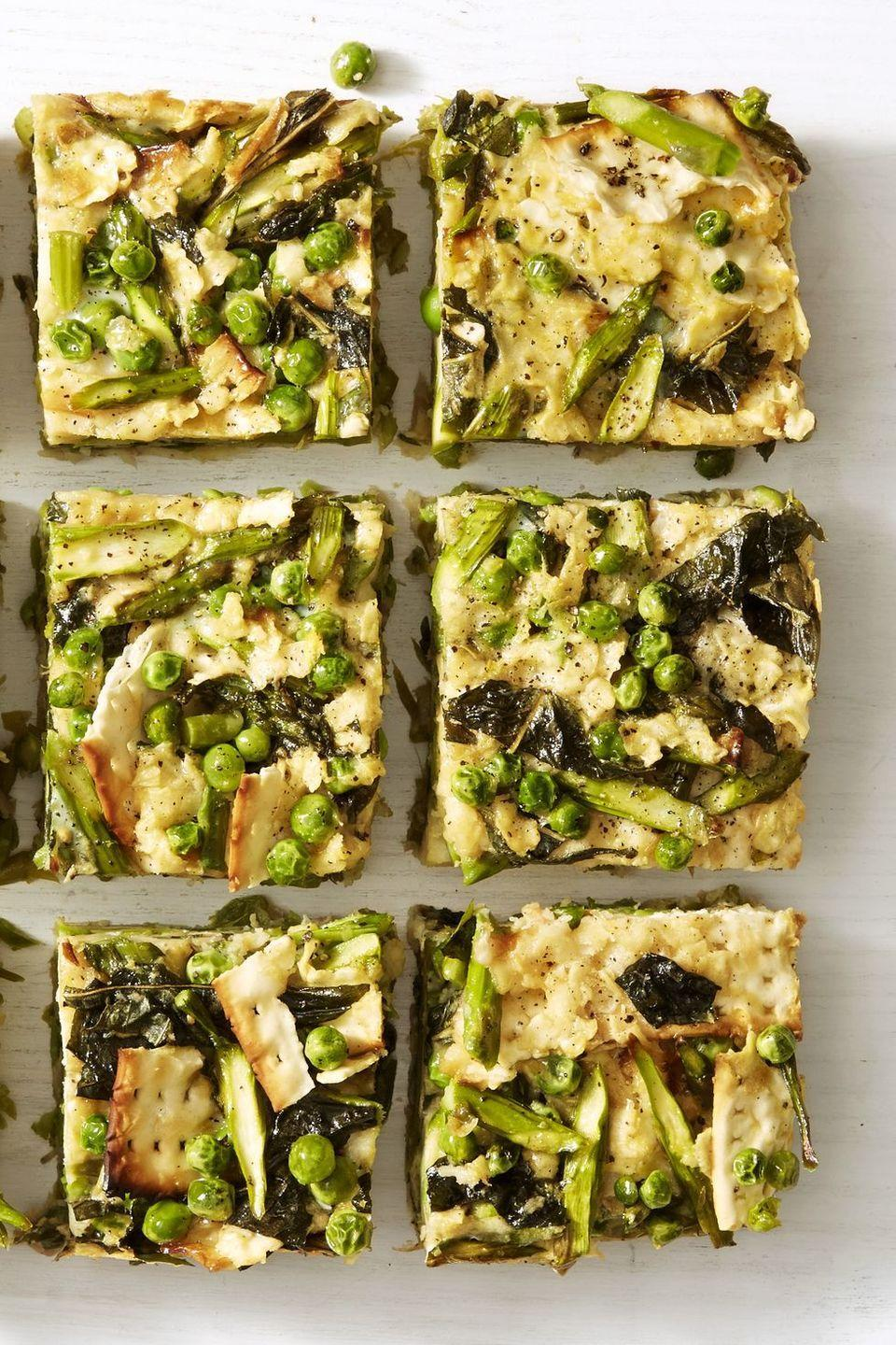 """<p>This bake-ahead frittata is certainly leftover friendly! You'll be loving it all week long.</p><p><em><a href=""""https://www.goodhousekeeping.com/food-recipes/a43211/spring-greens-matzo-frittata-recipe/"""" rel=""""nofollow noopener"""" target=""""_blank"""" data-ylk=""""slk:Get the recipe for Spring Greens Matzo Frittata »"""" class=""""link rapid-noclick-resp"""">Get the recipe for Spring Greens Matzo Frittata »</a></em></p><p><strong>RELATED: </strong><a href=""""https://www.goodhousekeeping.com/food-recipes/easy/g871/quick-breakfasts/"""" rel=""""nofollow noopener"""" target=""""_blank"""" data-ylk=""""slk:30 Quick and Easy Breakfast Ideas for Your Busiest Mornings"""" class=""""link rapid-noclick-resp"""">30 Quick and Easy Breakfast Ideas for Your Busiest Mornings</a></p>"""