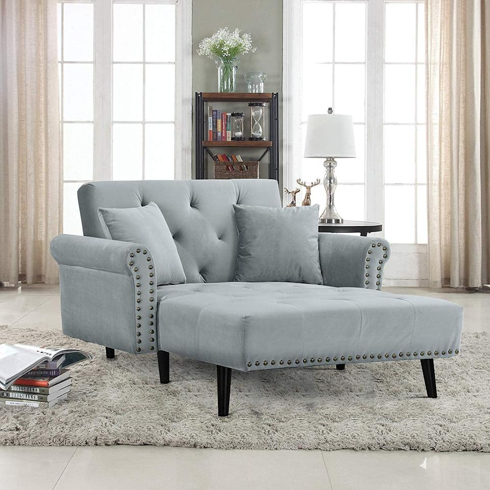 <p>This <span>Homcom Velvet Recliner Chaise Lounge</span> ($240, originally $290) is the best of both worlds. It's a nice chair for the living room, but it folds out into a twin-size bed for guests.</p>