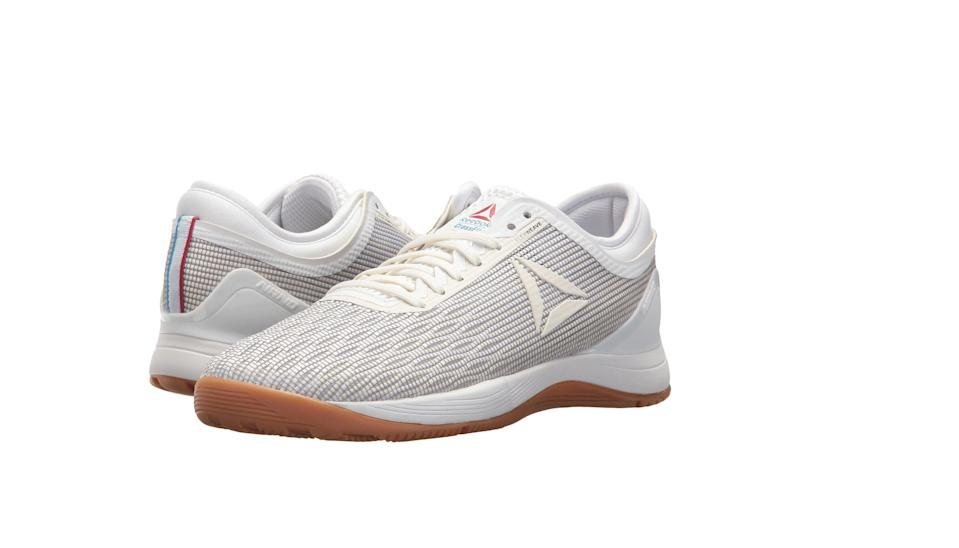 """<p><strong>Reebok</strong></p><p>amazon.com</p><p><strong>45.99</strong></p><p><a href=""""https://www.amazon.com/dp/B073XJNBPD?tag=syn-yahoo-20&ascsubtag=%5Bartid%7C2141.g.22749024%5Bsrc%7Cyahoo-us"""" rel=""""nofollow noopener"""" target=""""_blank"""" data-ylk=""""slk:SHOP NOW"""" class=""""link rapid-noclick-resp"""">SHOP NOW</a></p><p>You'll crush every WOD, thanks to these lightweight and durable shoes that also happen to be chic. The flexweave upper makes them breathable, while the removable<strong> OrthoLite sockliner allows your feet to breathe even easier inside the shoe.</strong> Because you'll feel more impact in your midsoles with cross training activities, these kicks have a dual-dense midsole to absorb impact where you need it most. </p><p>""""Hands down the best shoes for CrossFit training. The Nanos have a flat, extremely stable sole while having amazing cushion and enough support to prevent shin splints during intense met-con workouts,"""" says one very happy Amazon customer. </p>"""