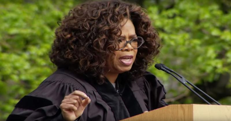 Oprah Winfrey gives a commencement speech at Colorado College.