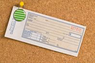 """Whether it's to write things off on your taxes for your business, you want to get better at budgeting, or you simply want to have them on hand for exchanges, it's super-smart to keep track of your receipts. But not if you're just going to crinkle them up in a plastic bag. Instead, create a receipt tracking board on your wall. According to <a rel=""""nofollow noopener"""" href=""""http://www.momtastic.com/diy/493303-diy-receipt-tracking-board-organizer/"""" target=""""_blank"""" data-ylk=""""slk:Momtastic"""" class=""""link rapid-noclick-resp"""">Momtastic</a>, all it takes is securing envelopes onto a bulletin board. Each envelope represents a week or month — whatever works best — so you can easily go through it once the set time period is over."""