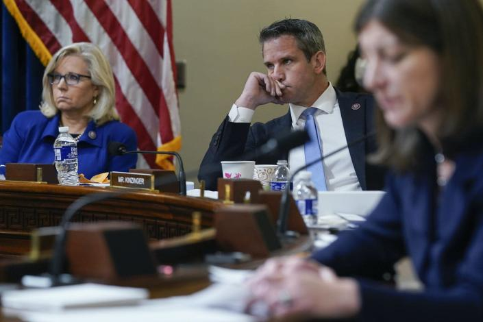 """<span class=""""caption"""">(L-R) Rep. Liz Cheney (R-WY), Rep. Adam Kinzinger (R-IL) and Rep. Elaine Luria (D-VA) during a meeting on July 27, 2021, of the House select committee investigating the Jan. 6 attack on the U.S. Capitol</span> <span class=""""attribution""""><a class=""""link rapid-noclick-resp"""" href=""""https://www.gettyimages.com/detail/news-photo/rep-liz-cheney-and-rep-adam-kinzinger-listen-as-rep-elaine-news-photo/1234242727?adppopup=true"""" rel=""""nofollow noopener"""" target=""""_blank"""" data-ylk=""""slk:Andrew Harnik-Pool/Getty Images"""">Andrew Harnik-Pool/Getty Images</a></span>"""