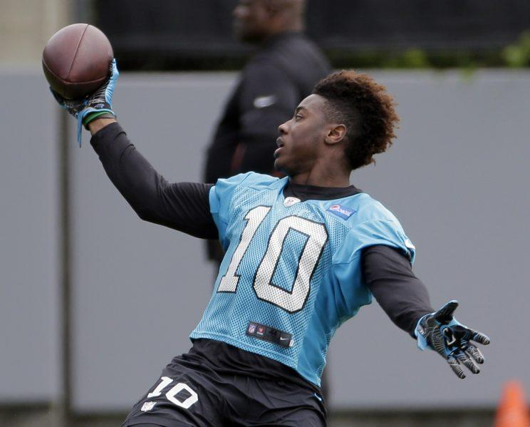 Curtis Samuel arrived at Panthers training camp thanks to a ride from his mom. (AP)
