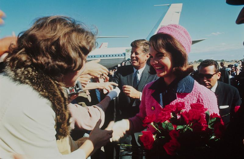 President John F. Kennedy and his wife, Jacqueline Kennedy, are seen after arriving in Dallas, Texas, on Nov. 22, 1963. He was fatally shot that same day.