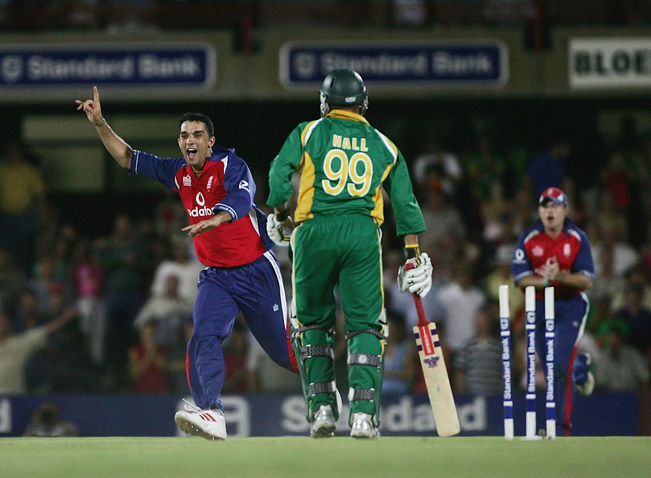 BLOEMFONTEIN, SOUTH AFRICA - FEBRUARY 2: Kabir Ali of England celebrates after Andrew Hall of South Africa is dismissed by the final ball during the 2nd One Day International between South Africa and England on February 2 2005 at Goodyear Park, Bloemfontein, South Africa.  (Photo by Tom Shaw/Getty Images)