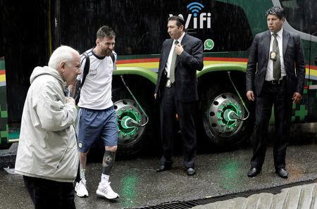 Football Soccer - Bolivia v Argentina - World Cup 2018 Qualifiers - Hernando Siles stadium, La Paz, Bolivia 28/3/17. Argentina's Lionel Messi arrives to the stadium. REUTERS/Daniel Rodrigo