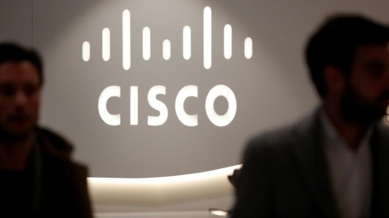 FILE PHOTO - The logo of US networks giant Cisco Systems is seen at their headquarters in Issy-les-Moulineaux, near Paris