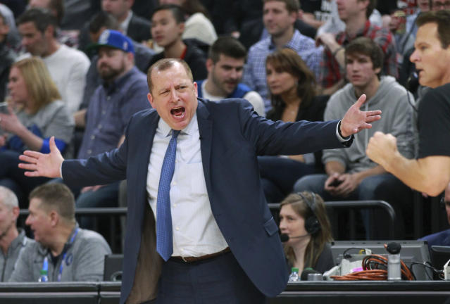 Coach Tom Thibodeau is showing signs of change while leading the young Timberwolves. (AP)