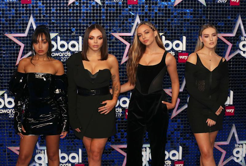 (L to R) Leigh-Anne Pinnock, Jesy Nelson, Jade Thirlwall and Perrie Edwards of Little Mix attend The Global Awards 2019 at the Eventim Hammersmith Apollo in London. (Photo by Brett Cove/SOPA Images/LightRocket via Getty Images)